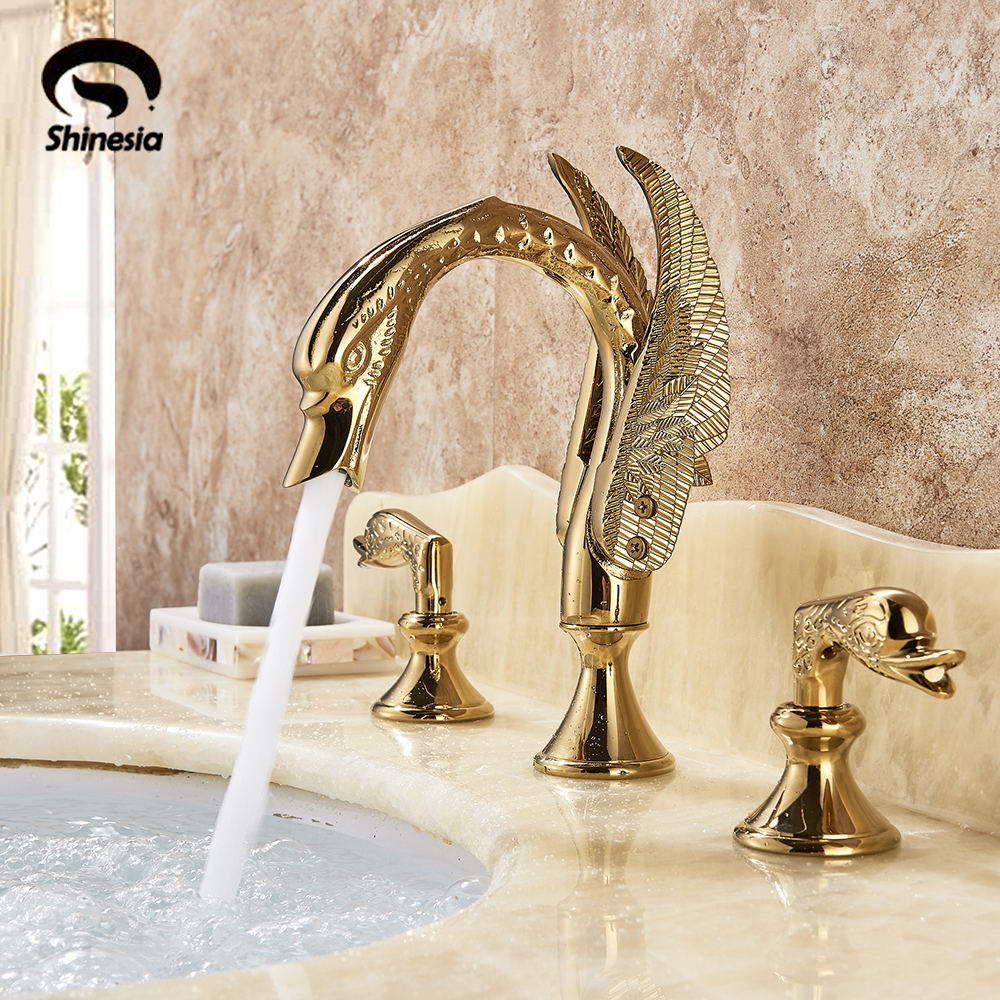 Luxury Bathroom Faucet Brass Golden Swan Shape Basin Tap Dual Handle Deck Mount Mixer Tap Sink Faucets Hot And Cold Water Mixer-in Basin Faucets from Home Improvement    1