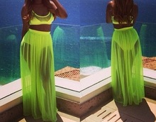 Sexy Summer women chiffon swimsuit swimwears two piece outfits beach suit wear long maxi dress plus size beach цена