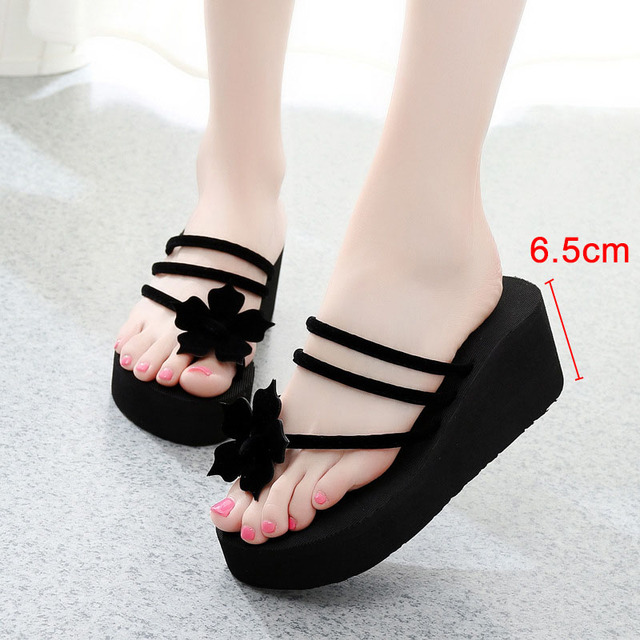 fe5bfe83388 2018 New Summer Women Flip Flops Slippers High Heel Platform Wedge Thick  Beach Casual Thong Sandals Shoes LBY2018