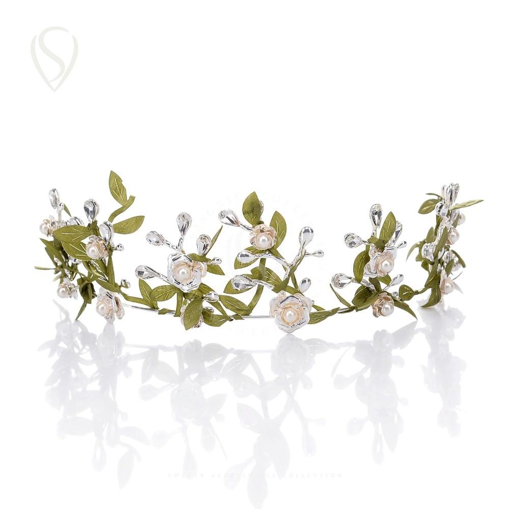 Clearance Sale Romantic Leaf Flower Crown Bridal Tiara Pearl