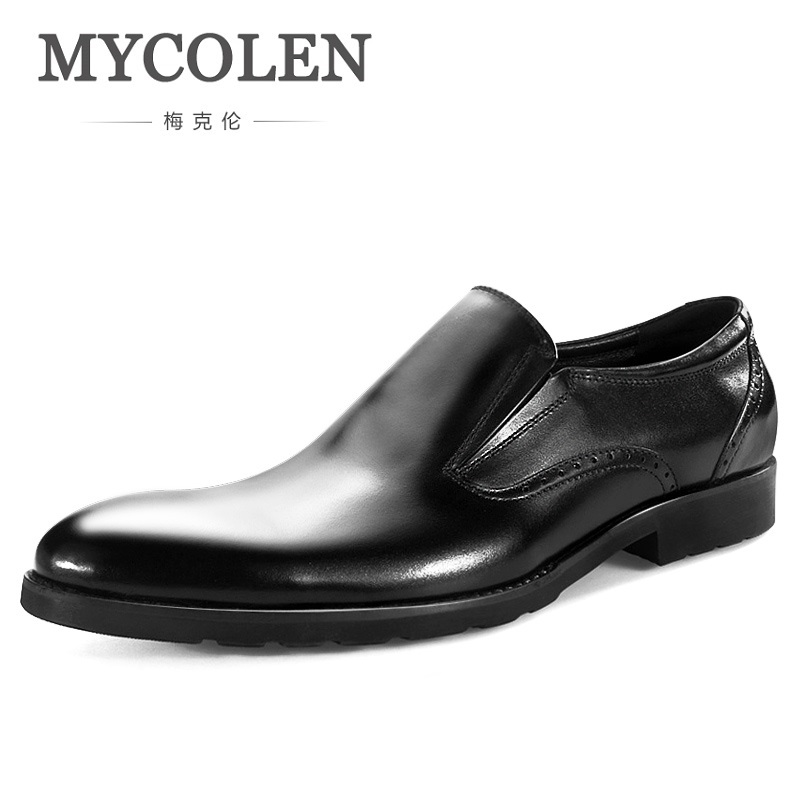 MYCOLEN 2018 Spring Pointed Toe Men Dress Shoes Genuine Leather Luxury Fashion Formal Shoes For Business Wedding Shoes mycolen men formal shoes luxury business dress shoes full leather pointed toe loafers men wedding leather shoe black moccasins