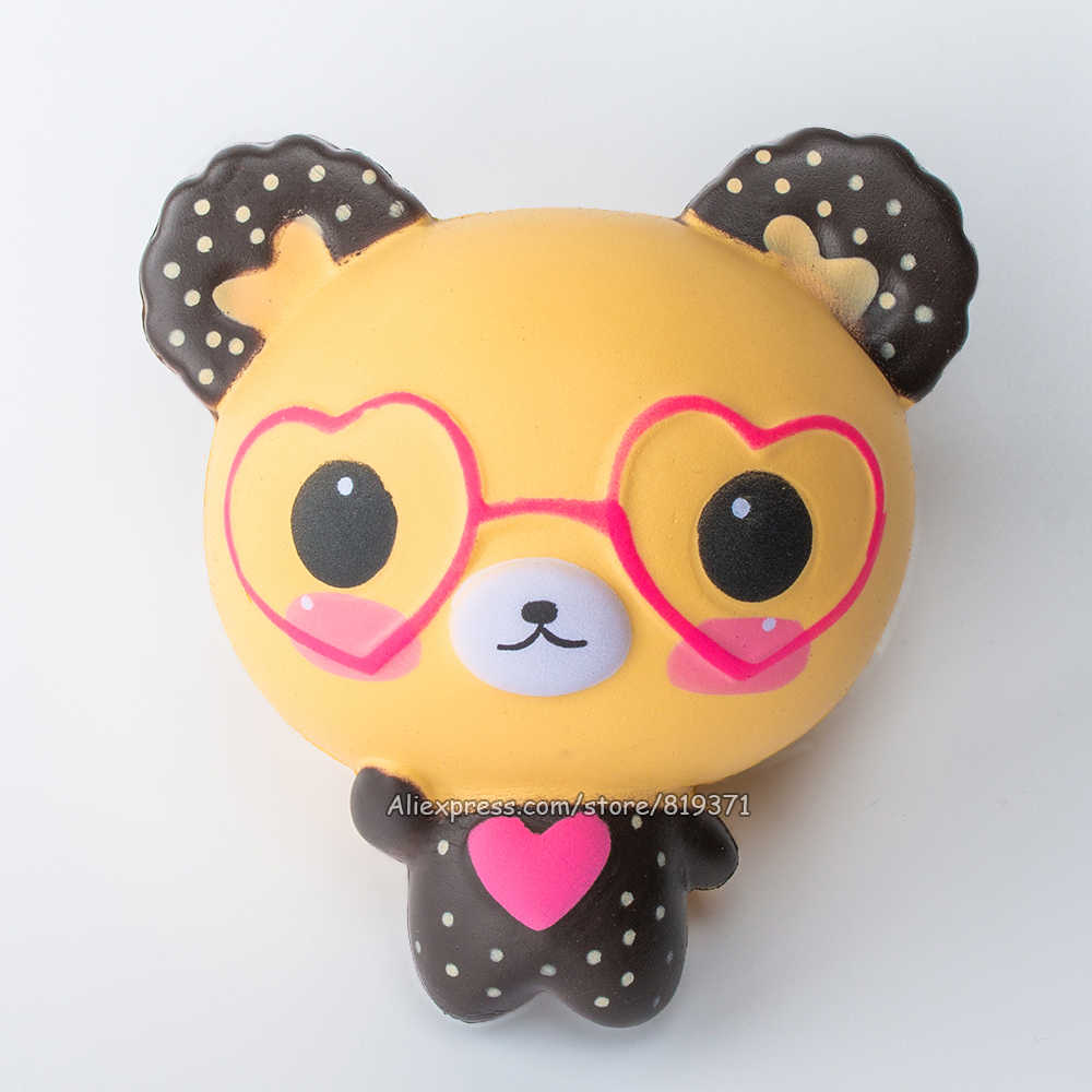 12cm Cute Bear Doll Squishy Cartoon Love Glasses Heart Slow Rising Squishy Toys Phone Gadget Strap Squeeze Kids Gift