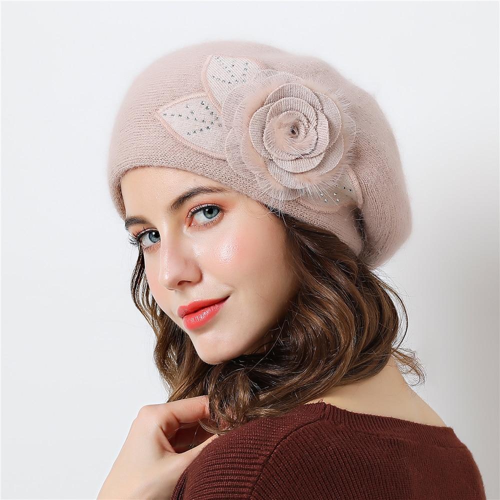 Double layer design winter hats for women hat rabbit fur for women's knitted hat Big flower cap   beanies   2018 New Women's Caps
