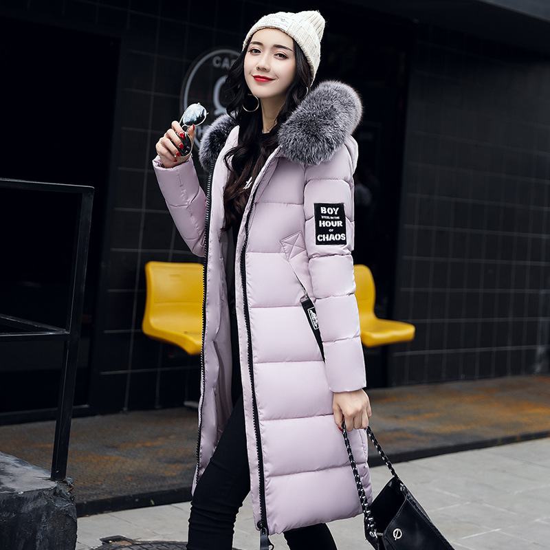 New 2017 Fashion Winter Jacket Female Cotton-padded Clothes Slim Long Big Fur Collar Warm Coat Epaulet Parkas Women's Outwear 2017 women winter jacket new fashion cotton padded long hooded coat parkas female wadded outwear fur collar slim warm parkas
