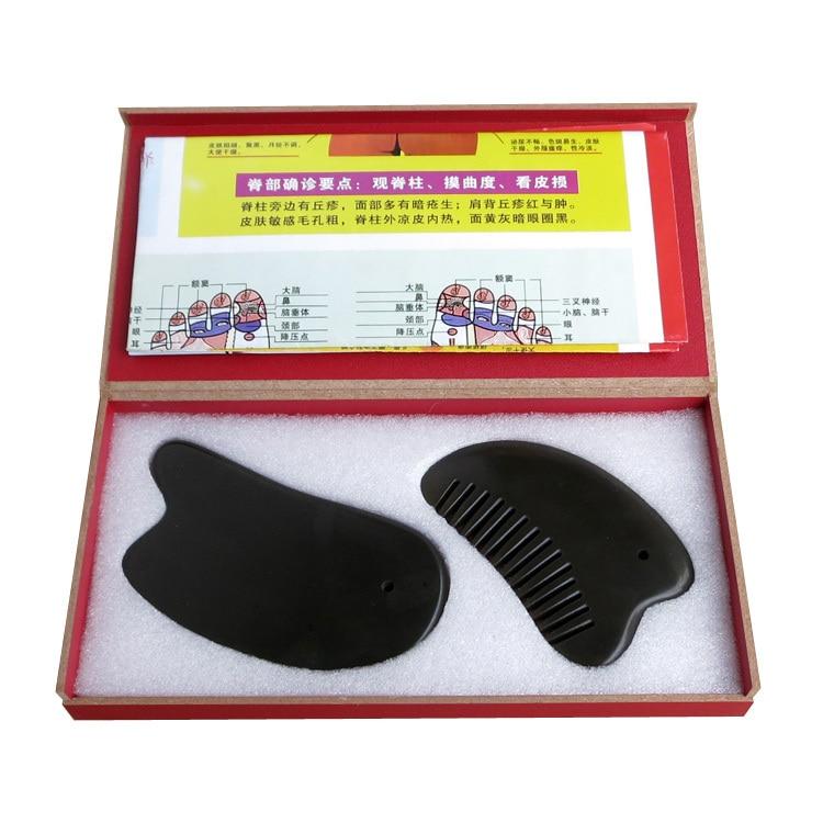 Acupuncture Massage traditionnel Outil 5A Bian pierre guasha beauté visage kit (gua sha plaque + guasha triangle peigne 2 pièces/lot