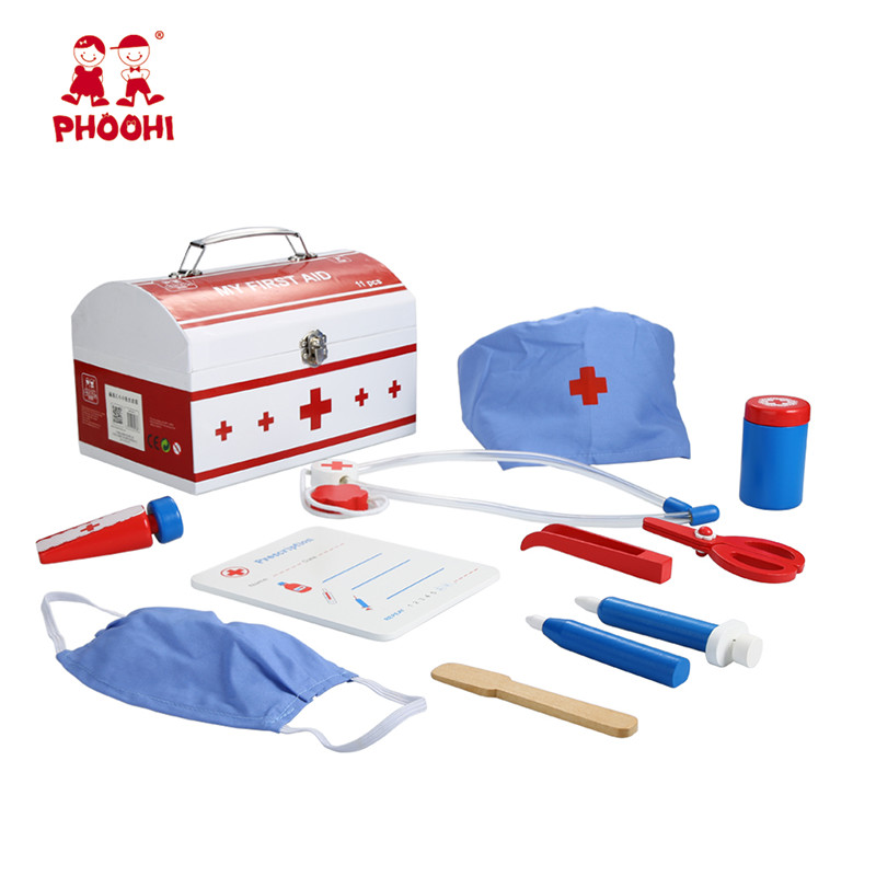 Wooden Doctor Kit Toy Simulation Children Pretend Role Play Game Set Toy For Kids PHOOHI