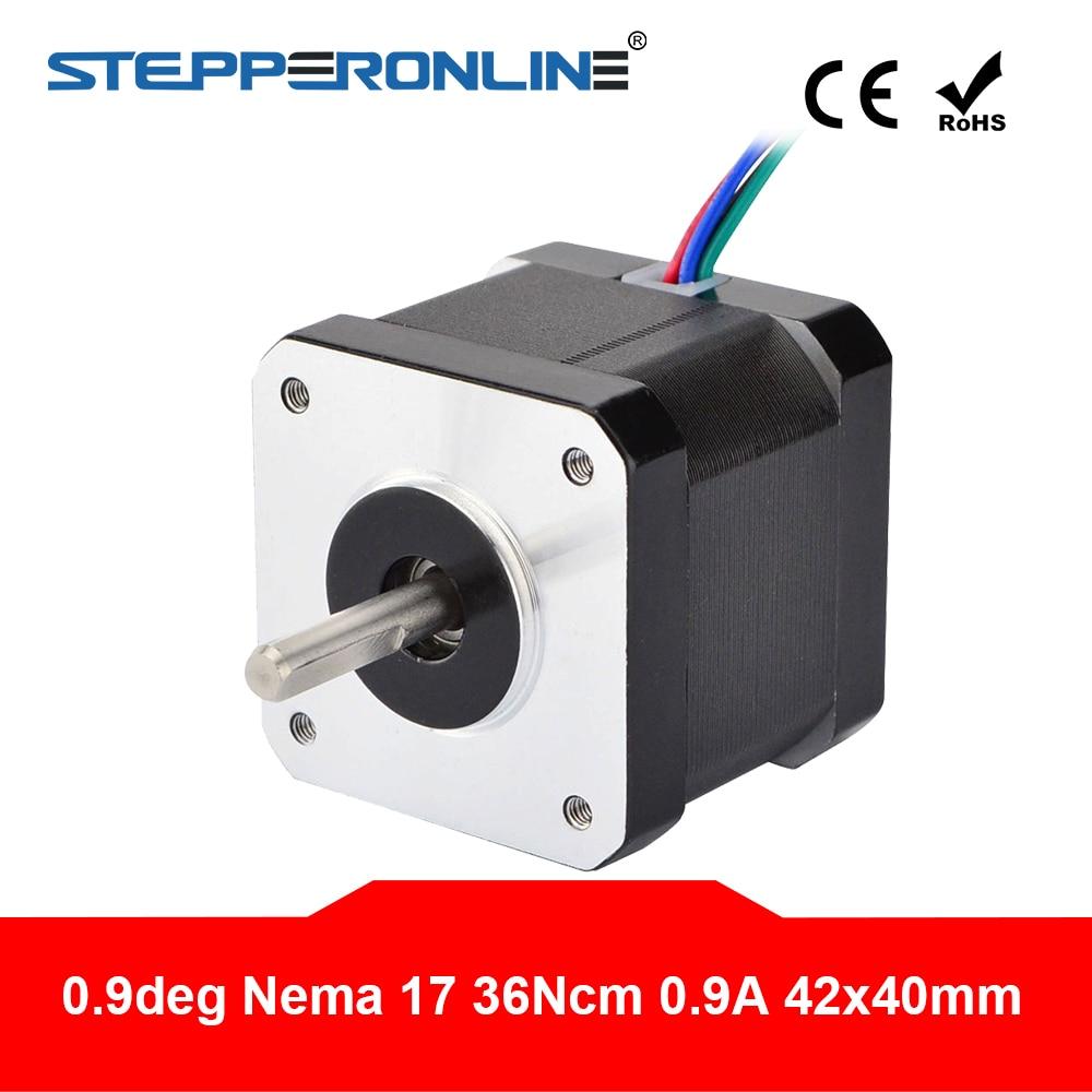 0.9 graus nema 17 stepper motor 36ncm (51oz. in) 0.9a 4-lead 40mm comprimento para diy impressora 3d cnc robô