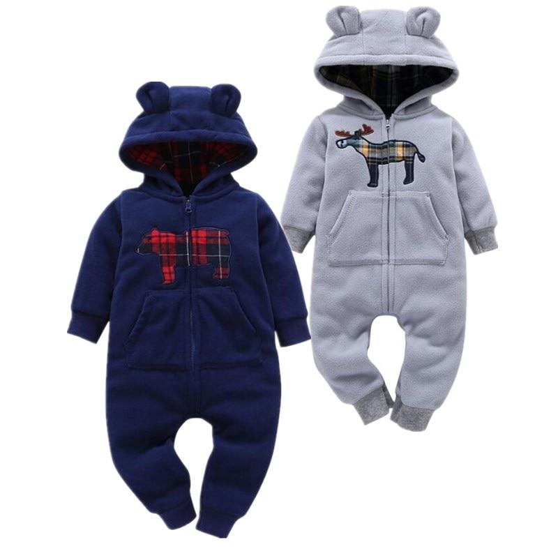 2019 Baby Cartoon Clothing Soft Fleece Newborn Baby Clothing With Velvet Thick Clothing  Baby Santa Costume Newborn Clothes Boy