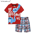 Children Kids Suits Summer 2017 New Cartoon  Animal Letter Boys Clothes Toddler Boy Clothing Sets Character Kids Clothes CF518