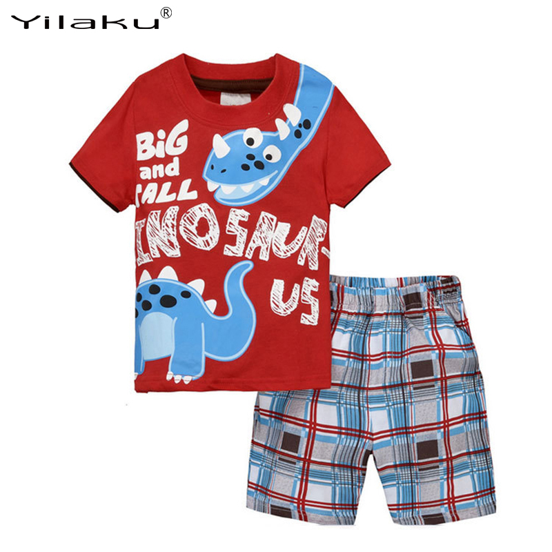 Yilaku Children Clothing Toddler Boys Clothing Sets Summer Sports Suit For Boy Cartoon Kids Clothes 2pcs Shorts Set Cotton CF518