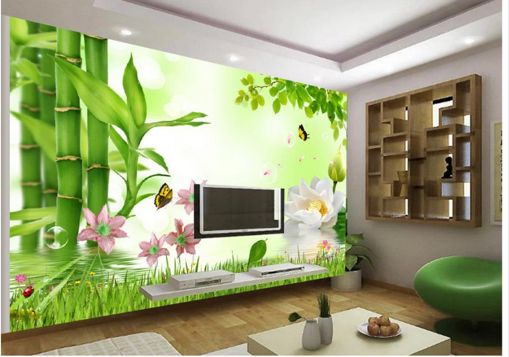 home decoration 3d lotus bamboo tv background wall. Black Bedroom Furniture Sets. Home Design Ideas