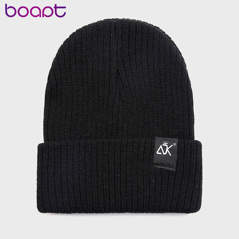 Unisex Hat Letter ADK Casual Crimping Beanies For Men Women Warm Knitted Winter Hat Fashion Solid Hip-hop Beanie Cap 10 Colors