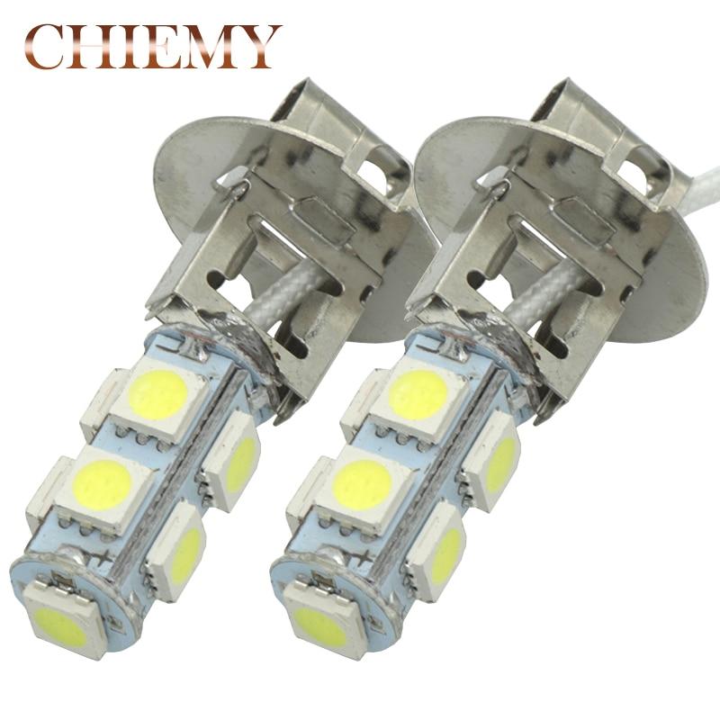 2Pcs H1 H3 5050 9SMD LED DC12V Auto Car Fog Light Lamp LED Bulbs Daytime Running Light White Car Bulb DRL Lamps White 6500K цены