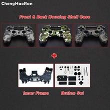 Chenghaoran Voor PS4 Gamepad Controller Camo Voor + Terug Behuizing Shell Case Cover W/ Inner Frame & Volledige Knoppen kit, JDM 001 010 011