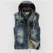 Men' Hooded Denim Vest Male Plus Size Casual Jeans Vest 2016 New High Quality Retro Sleeveless Denim Jacke 4Xl A1411