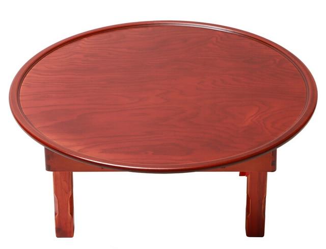 Asian Style Antique Round Table Folding Legs 90cm Living Room Furniture Korean Floor Dinning Wood