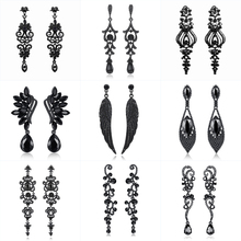Minmin Vintage Feather Long Drop Earrings for Women Black Crystal Angel Wing Dangle Earrings 2019 Fashion Jewelry Female MEH942