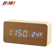 JINSUN LED Alarm Clock Time/date/temperature Digital Bamboo Wood Voice Table Clocks  LED Display Desktop Digital Table Clocks