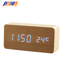 Wooden LED Alarm Clock Time Date Temperature Digital Bamboo Wood Clock Voice Activated Table Clocks Reloj