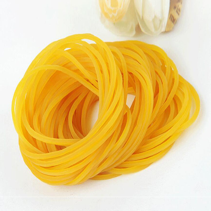 100pcs/Bag Office Supplies Stationery Clip Rubber Band Transparent Yellow Rubber Band High Quality Cowhide Rubber Band