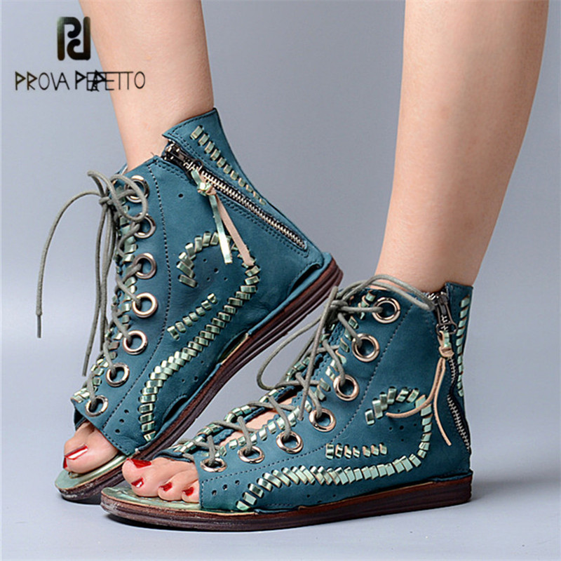 Prova Perfetto Green Peep Toe Women Sandals Flat Gladiator Sandal Tassels Lace Up Hollow Out Women Ankle Boots Ladies Shoes недорго, оригинальная цена