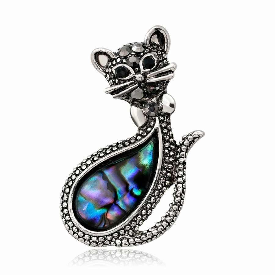 2019 nouveau à la mode Simple Vintage chat Abalone Shell broche broche pour fille femmes mode mignon Animal Corsage bijoux accessoires