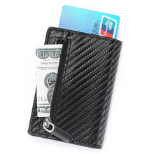цены RFID Carbon Fiber Wallet PU Leather Card Case Single Box Smart Credit Card Holder 2019 New Arrival RFID Coin Purse