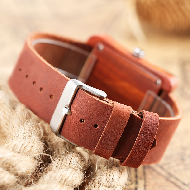 Rectangle Dial Wooden Watches for Men Natural Wood Bamboo Analog Display Genuine Leather Band Quartz Clocks Male Christmas Gifts 2020 2019 (24)