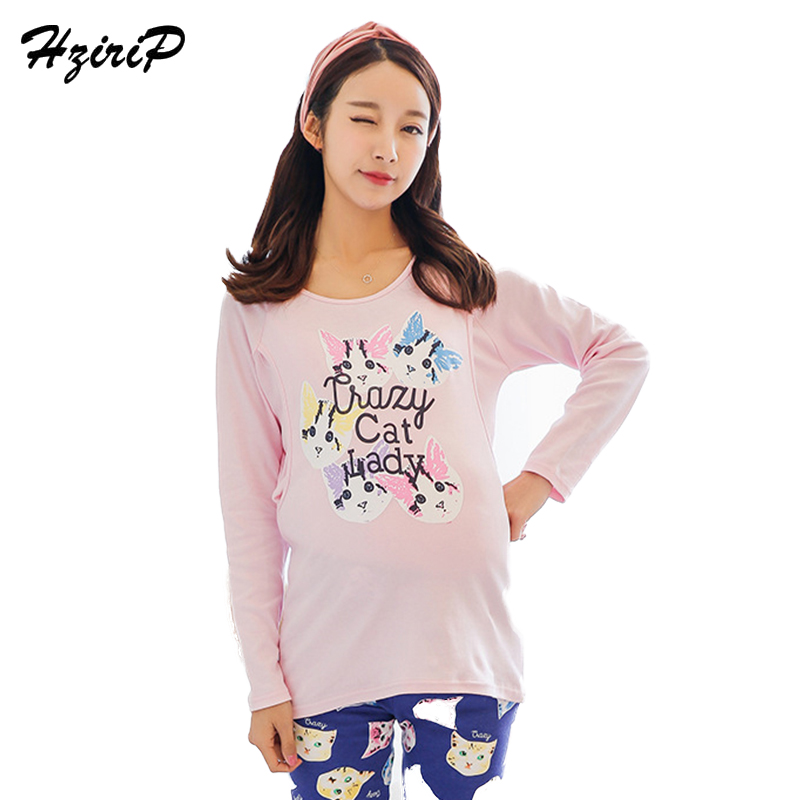HziriP Breastfeeding Sleepwear Suits Pregnant Women Pajamas Cotton Comfortable Breathable Onwear Nursing Lounge Maternity Cloth