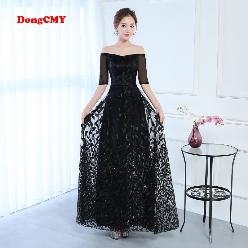 DongCMY CG1040 2017 new arrival fashion formal long black color elegant lace   evening     dress