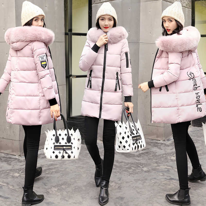 2a7b616ac12d ... winter jacket women Coat 2018 Fashion Cotton Big fur collar hats long  parka padded jacket female