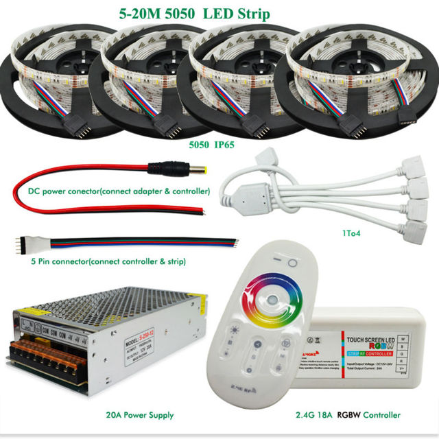 5-20m RGBW RGBWW Led Strip Light 5050 DC 12V 4 in 1 Chip IP20/IP65 Waterproof + 2.4G RF Remote Controller + Led Power Supply Kit