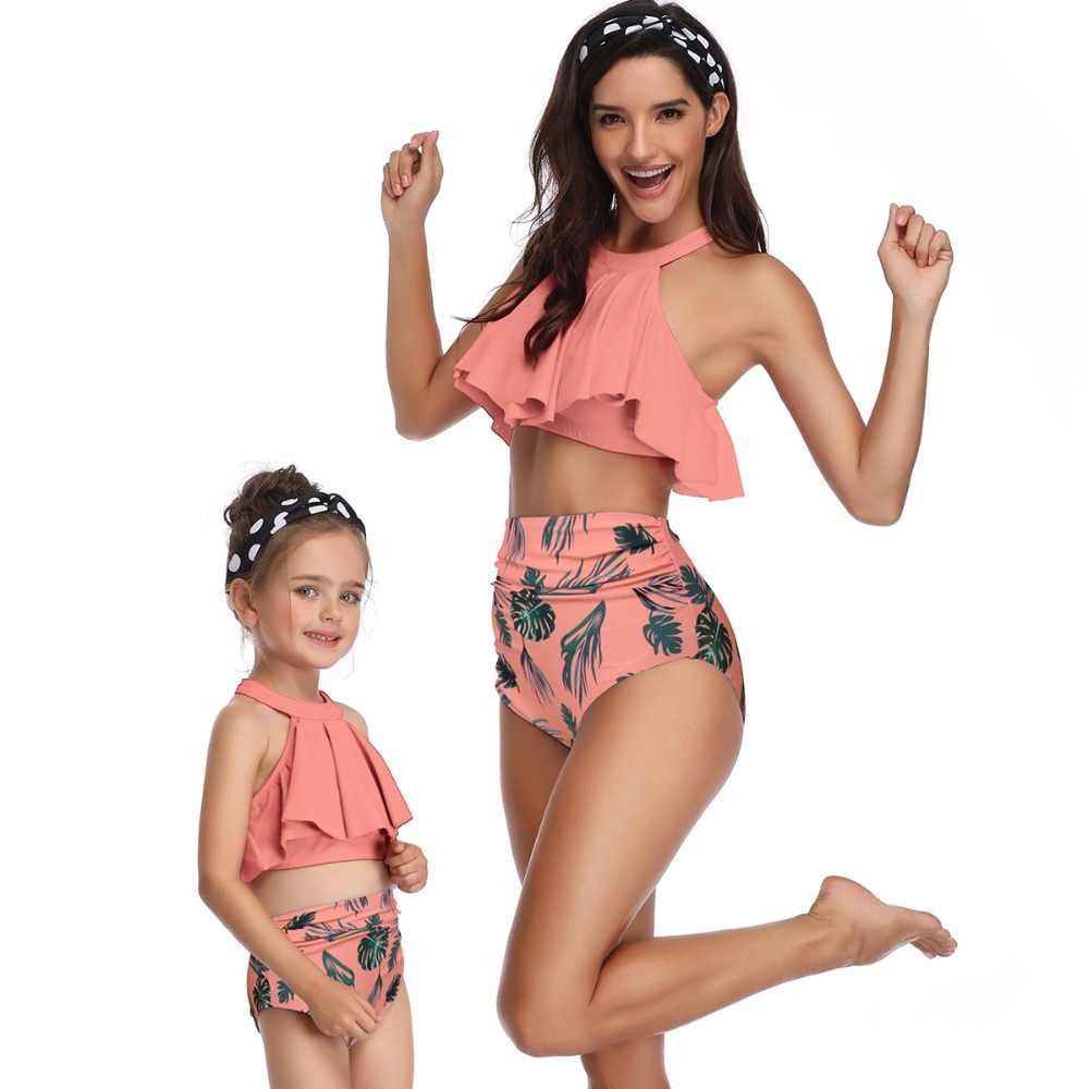 mother daughter swimsuit high waist bikini family look mommy and me clothes beach swimwear matching outfit mom baby sand dresses