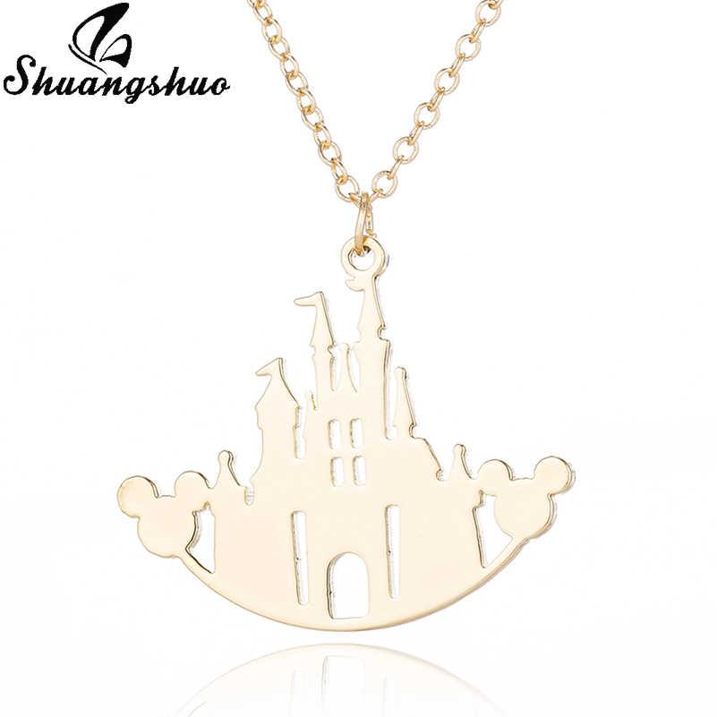 Shuangshuo Cartoon zwierząt Mickey naszyjnik dla kobiet mysz zamek Chokers naszyjniki i wisiorki ze stali nierdzewnej collares