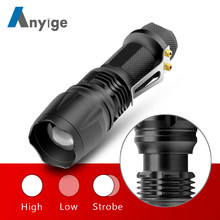 ANYIGE Q5 LED Flash Light 3 Modes Flashlight Waterproof Zoomable Torch Latern Portable lamp Use AA battery For Camping Lighting(China)