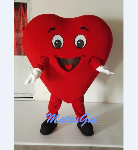 Real picture Red Heart mascot costume Character Costume Adult Size Halloween