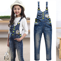 Denim Overalls High Quality Children Clothing Spring 2016 Cartoon Girls Denim Jumpsuit Fashion Teenage Kids Pants For Girls 6-14