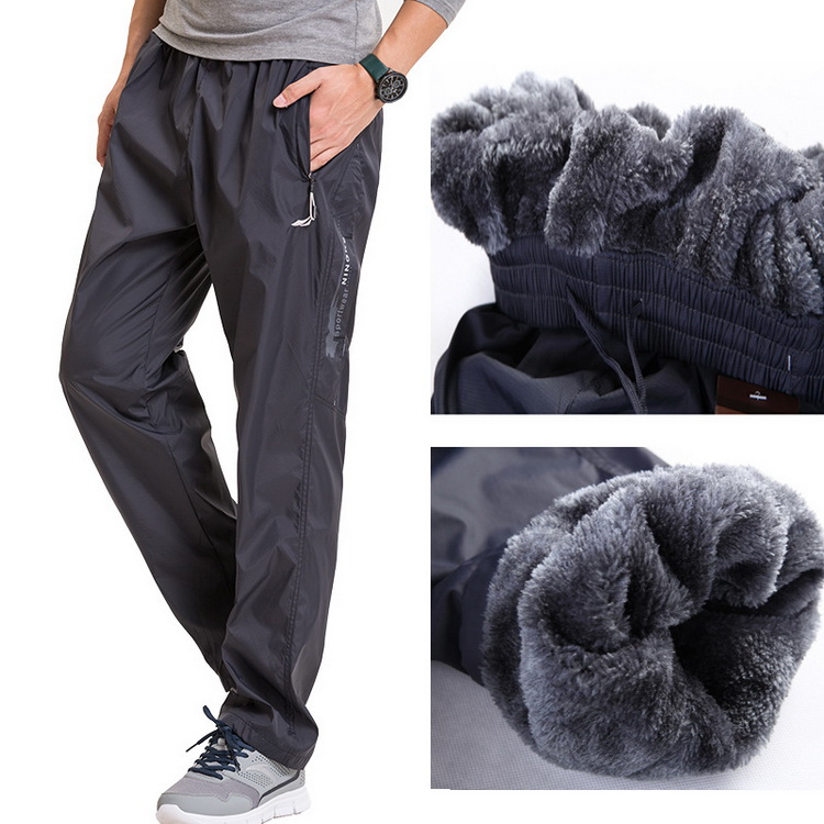 Grandwish Fleece Thick Pants Men Outside Winter Pants Men Fleece Warm Straight Mens Fleece Pants Heavyweight Zipper , PA785