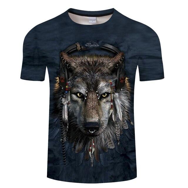 Horse&Cow&Native&Wolf With Music 3D Men T Shirt ShortSleeve Tshirt 3D Print T-shirt Summer Vintage Loose Tops Thin Tees Dropship 5