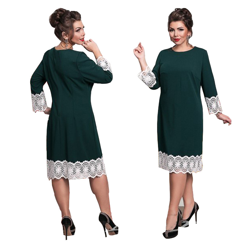 US $10.09 20% OFF|6XL Europe New Women Autumn Winter Dress Work Ladies Plus  Size Large/Big Sizes Dresses Lace Stitching Pencil Dress Vestidos-in ...