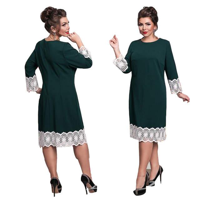 US $9.96 21% OFF 6XL Europe New Women Autumn Winter Dress Work Ladies Plus  Size Large/Big Sizes Dresses Lace Stitching Pencil Dress Vestidos-in ...