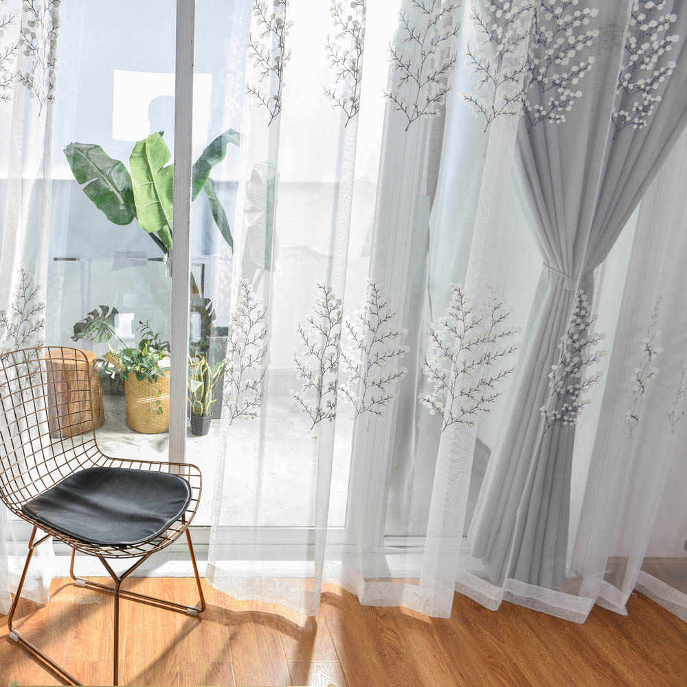 grey white curtains for living room embroidered luxurious curtain for kitchen bedroom simple tulle sheer for window blackout