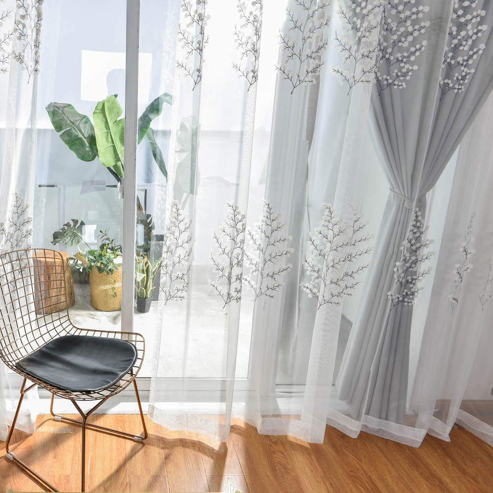 Grey White Curtains For Living Room Embroidered Luxurious