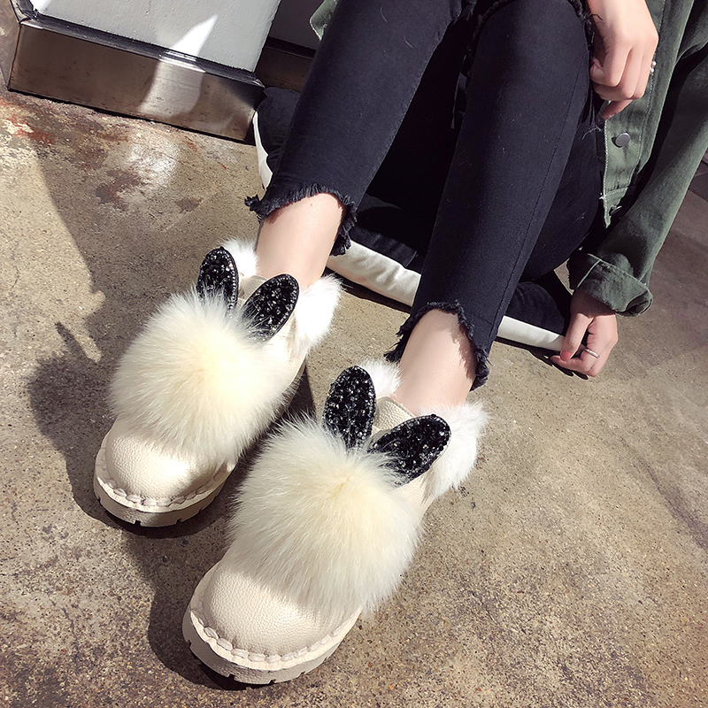Lucyever Women Lovely Rabbit Ears Bling Ankle Boots Cotton Warm Winter Boots 2019 New Fashion Winter Snow Boots Botas Mujer bjd doll boots two wear rabbit ears cut short boots in stock page sd13