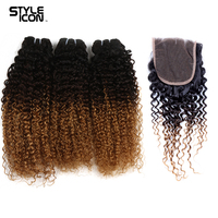 Styleicon Pre Colored Ombre Brazilian Curly Weave Human Hair 3 Bundles With Closure T1B/4/27 Ombre Bundles With Closure