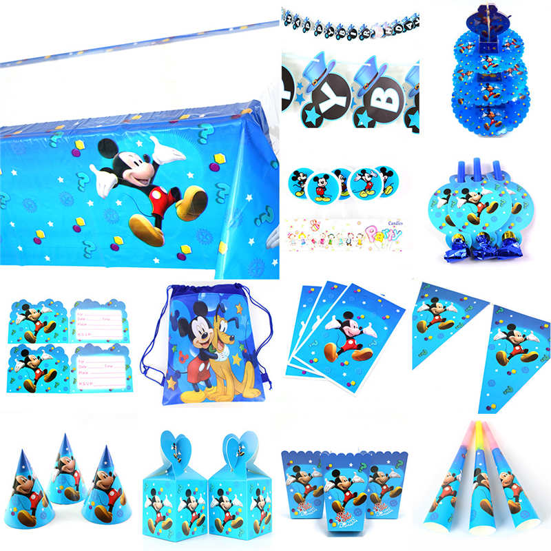 Banner/Flag Hat Straw Candy Popcorn box Mickey Mouse Kids Birthday Party Set Decoration Party Supplies Paper Cup Plate Napkin