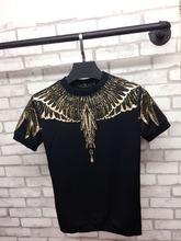 hip hop new 2017 design short sleeved shirt T-shirt male drilling stamp wings tshirt