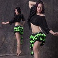 Belly Dance Costume 2 Pcs Sexy Long Sleeves Top+colors Short Skirt Suit for Women Belly Dance Exercise Costume Set