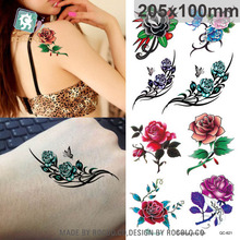 Body Art Waterproof Temporary Tattoo Sticker For Women Sexy Beautiful 3d Rose Large Flash Arm Tatoo QC2621