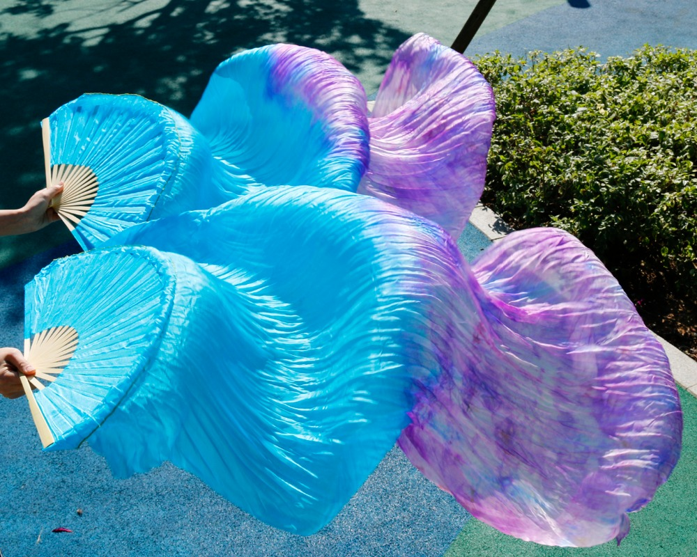 2018 Female High Quality Chinese Silk Veils Dance Fans Pair Of Belly Dancing Fans Cheap Hot Sale  Mix Color As Picture